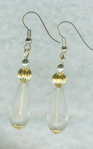 Frosted Glass Drops and Gold Fluted beads Earrings