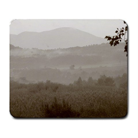 Mousepad FREE SHIPPING layers of fields in the distance B&W between here and the mountains