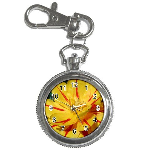 Pocket Watch Yellow and red stripe flower