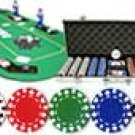500PCS 13.5 GRAM DOUBLE SUIT POKER CHIP SET + CASE + TEXAS HOLDEM FOLDING TABLE TOP WITH TRAY