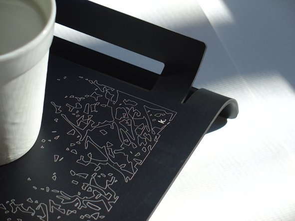 Etched Beakfast Tray - Black - Winter Trees