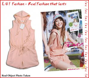 Cotton Zipped One Piece Summer Fashion Pink Top