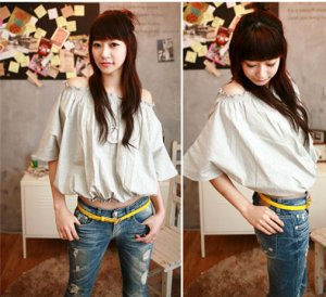 OutGoing Look Stretchy Shoulder Cotton Gray Blouse