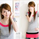 Korean Style Cute Colors Trendy Long Gray Blouse