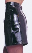 Zipper Front Faux Leather Mini Skirt Small
