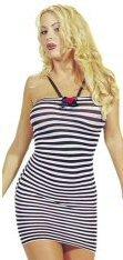 Small Striped Mini Halter Dress With Ribbon New