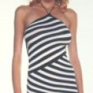 Offset Stripe Mini Halter Dress New