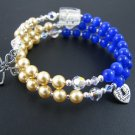 Rosary for the Wrist Blue Tiger Eye and Swarovski Pearl