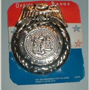 6 Tin Toy Special Police Badges, Japan Old Store Stock
