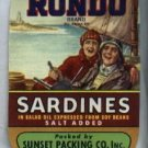Rondo Brand Sardines in Oil Can Advertising Label