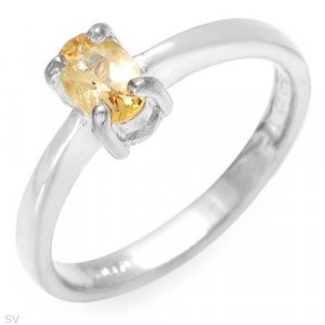 Ring With Genuine Citrine in 925 Silver- Size 7