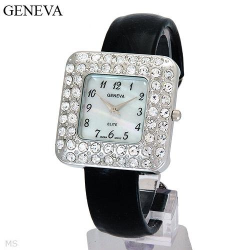 Black Geneva Watch, genuine crystals