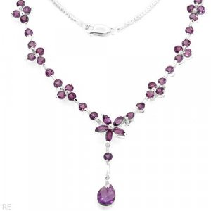 Necklace W/ 6.00ctw Genuine Amethysts in 925 Sterl silver RETAIL $519