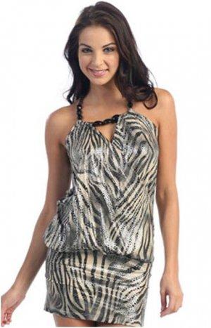 Sexy Zebra Mini Print Dress