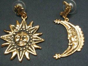 18 karat golden coated sun and moon  earrings