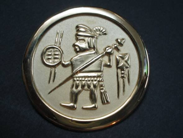 Circular pendant ornaments sun and  moon  temple warrior