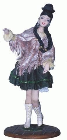 marinera punena peruvian tipical doll in ceramic in cold tecnique