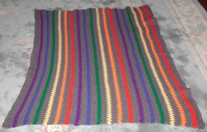 New Hand Crocheted Rainbow Afghan (item # AY0001) approx. 44 in. by 56 in. 100% Acrylic Machine Wash