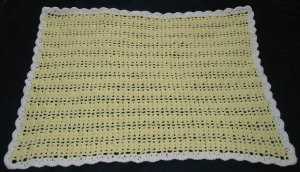 New Handmade Shell Baby Afghan (item # AB0002) approx. 34 in. X 40 in., 100% Acrylic, Machine Wash