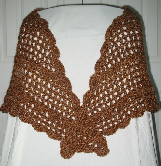 New Hand Crocheted Ladies Open Work & Shell Homespun Shawl - (Item # SL0005) - Color Ranch