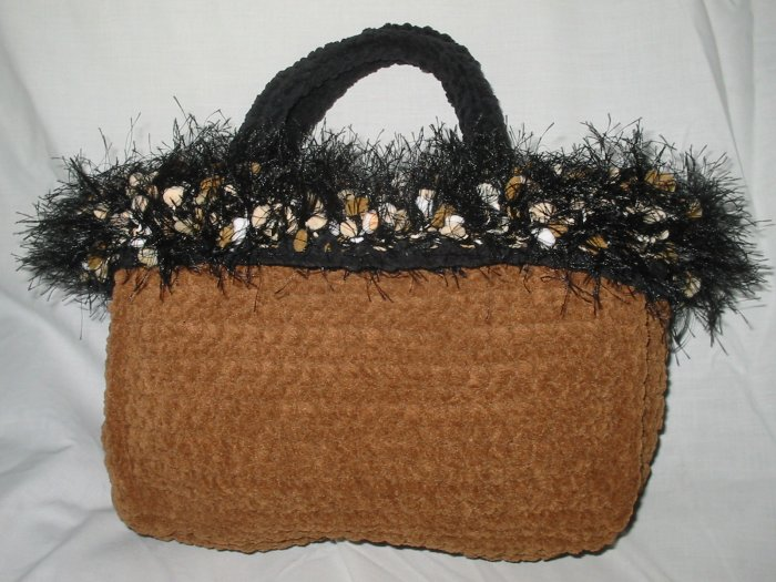 Hand Crocheted Suede Look Evening Tote - Mocha with Fancy Fur Trim (item # BP0004)
