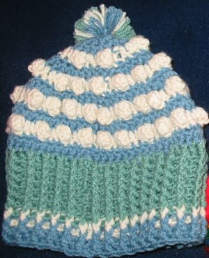 "Hand Crocheted ""Popcorn"" Hat - Adult Small/Child Large (item # SH0010)"