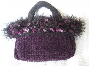 Hand Crocheted Suede Look Evening Tote - Eggplant with Fancy Fur Trim (item # BP0005)