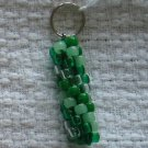 Hand Crocheted Pony Bead Keychain (item # JK0007) - Shades of green and glow-in-the-dark