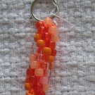 Hand Crocheted Pony Bead Keychain (item # JK0011) - Oranges and glow-in-the-dark