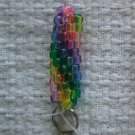 Hand Crocheted Pony Bead Keychain (item # JK0008) - transparent rainbow