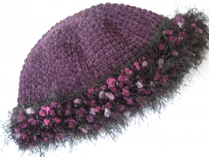 Hand Crocheted Suede Look Hat - Eggplant with Fancy Fur Trim (item # SH0006) - Adult Average