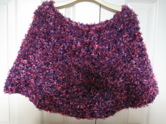 Ladies Hand Crocheted Boa Capelet - Purple & Pink - One size fits all - Polyester & Acrylic