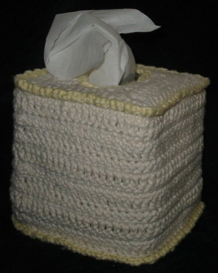 Hand Crocheted Tissue Box Cover (item # HB0001) - Cream & Yellow,  100% Cotton - Machine Wash