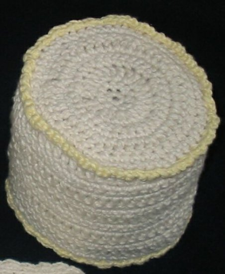 Hand Crocheted Toilet Tissue Cover (item # HB0002) - Cream & Yellow,  100% Cotton - Machine Wash
