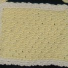 Hand Crocheted Face Cloth (item # HB0006) - Yellow & Cream,  100% Cotton - Machine Wash