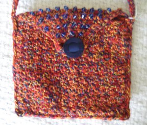 Hand Crocheted Envelop Bag with Blue Glass Beads (iiem # BP0006) - Cotton Blend - Color:Mexicana