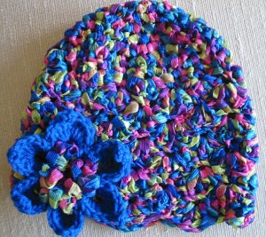 Hand Crocheted Cloche with Flower Pin - Adult Average (item # SA0002) - Carnival