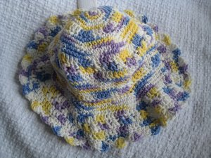 Hand Crocheted Cotton Sun Hat (item # SH0015) - VIolet Veil Ombre - Adult Average