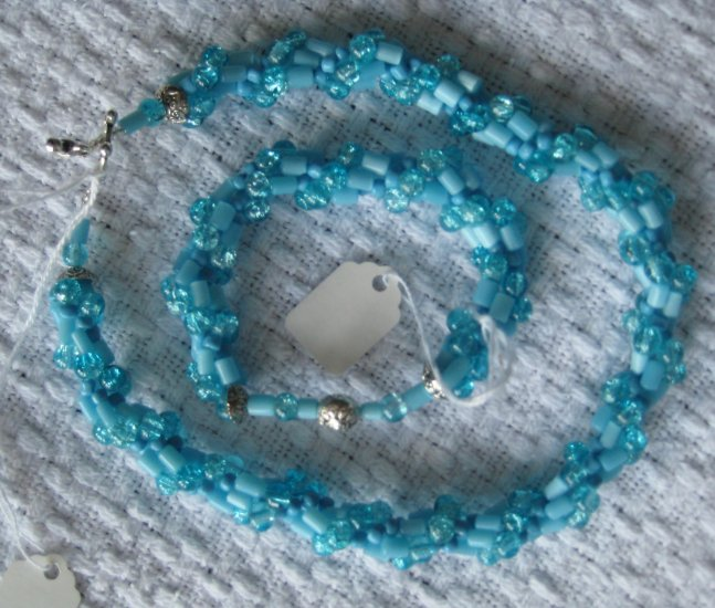 Hand Crocheted Glass Bead Necklace and Roll-On Bracelet - Lt. Blue