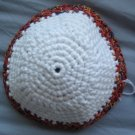 Hand Crocheted Yarmulke - 6 in. with X-Stitch trim - Cotton