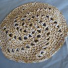 Hand Crocheted Yarmulke - 5 in. - White & Gold Swirl Design