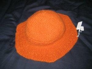 Hand Crocheted Felted Wool Hat (item # SH0016) - Pumpkin - Adult Average