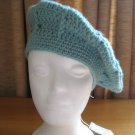 Hand Crocheted Swirl Pattern Beret Hat (item # SH0022) - Soft Sage - Adult Average