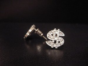 Silver Plate Dollar Sign Earrings