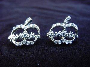 Apple Bottoms Silver Plated Logo Earrings