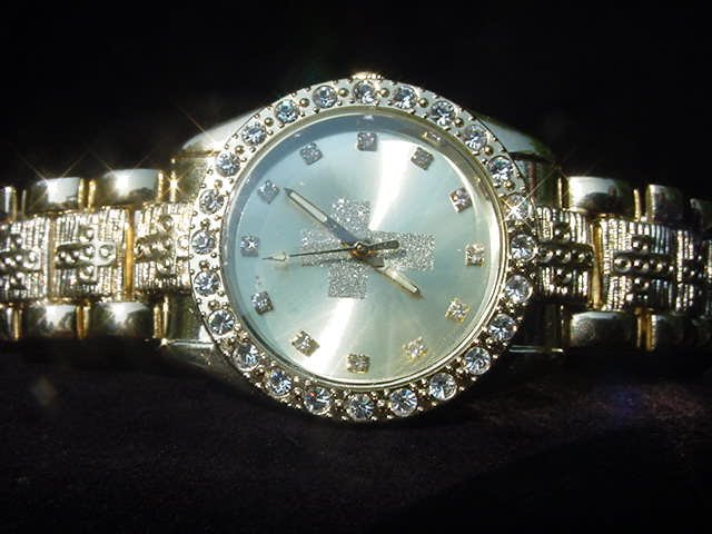 Paved Cross-Gold Background Watch