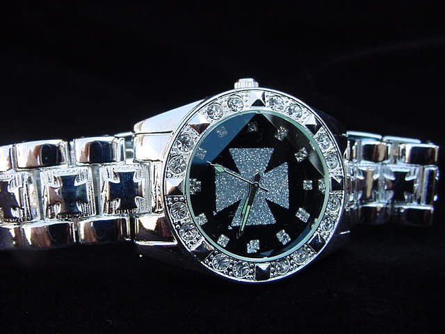 Paved Maltese Cross - black background Watch