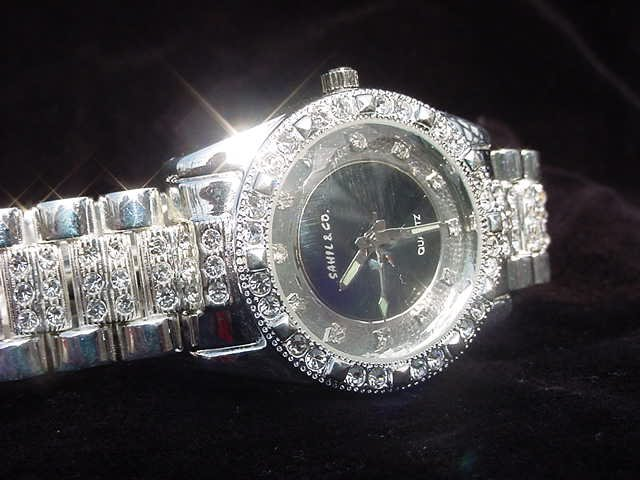 Black Background Bling Watch