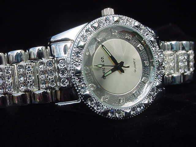Silver Background Bling Watch