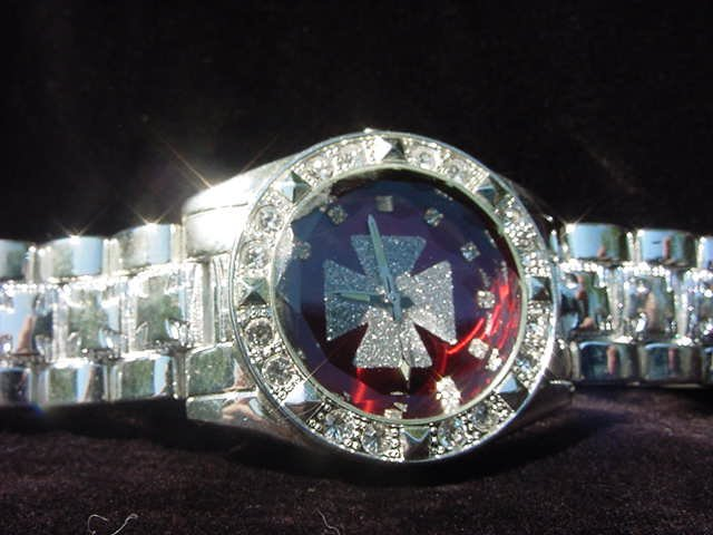 Paved Maltese Cross - red background Watch